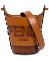 Fendi Secchiello in Pelle con Logo Goffrato - Marrone