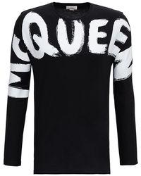 Alexander McQueen Maglia a Maniche Lunghe con Stampa Logo - Nero