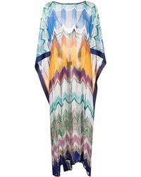 Missoni Long Color Block Asymmetrical Dress - Blue