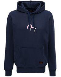 Evisu E Cotton Hoodie With Logo Print - Blue