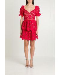 Self-Portrait Flower Lace Mini Dress - Red