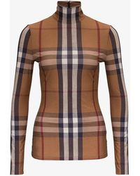 Burberry Vintage Check Pattern Turtleneck Top In Stretch Jersey - Brown