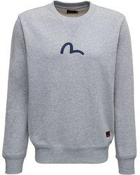 Evisu Cotton Crew Neck Sweatshirt With Logo Print - Gray