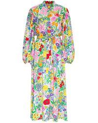 Gucci Abito Lungo in Seta con Stampa Ken Scott - Multicolore