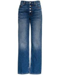 Ganni High Waist Washed Jeans - Blue