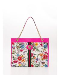 Gucci - Tiger Tote Double Shoulder Large Bag In Flora Canvas + Fluo Leather 45 X 35 X 6 Cm - Lyst