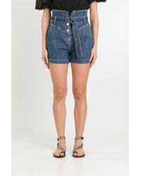 Pinko Shorts con Cintura in Vita - Blu