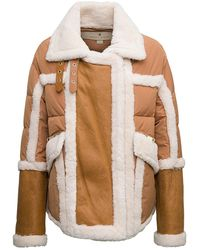 Nicole Benisti Quilted Shearlinig With Leather Inserts - Natural
