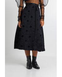Noir Kei Ninomiya Flared Jacquard Skirt With Pleated Tulle Underskirt - Black