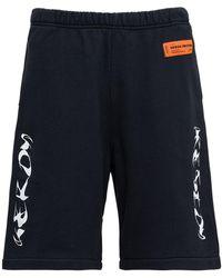 Heron Preston Jersey Bermuda Shorts With Hp Brush Print - Blue