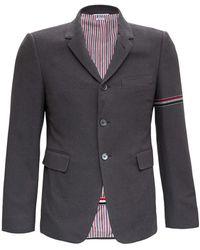 Thom Browne Single-breasted Blazer In Gray Bouclè Cotton