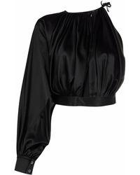 Matériel One-shoulder Asymmetric-draped Blouse - Black