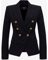 Balmain 6 Button Grain De Poudre Jacket - Black