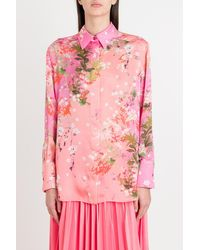 Givenchy Floral-print Bow-tie Blouse - Pink