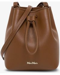 Max Mara Leather Bucket With Logo - Brown