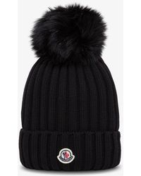 Moncler Pom Pom Hat With Logo - Black