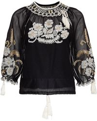RED Valentino Mesh Shirt With Floral Embroidery - Black
