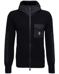 3 MONCLER GRENOBLE Wool And Nylon Tricot Hoodie With Logo - Black