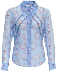 Chloé Camicia Floreale di Seta - Blu