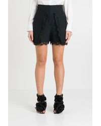 Alexander McQueen Lace-trimmed High-rise Crepe Shorts - Black