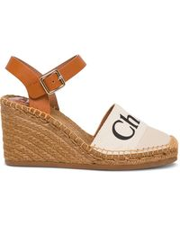 Chloé Woody Wedge Espadrilles In Leather And Canvas - White