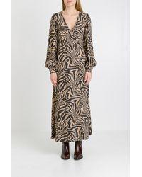 Ganni Printed crepe wrap long sleeves dress - Neutro