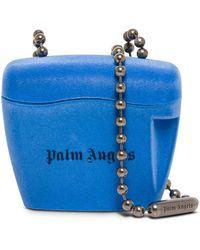 Palm Angels Borsa a tracolla padlock in tessuto floccato e logo - Blu