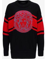 Versace Maglione di lana con logo - Rosso