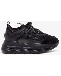 Versace Sneakers Chain Reaction in pelle, tessuto e suede - Nero