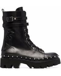 Pinko Love Birds Combat Boots - Black