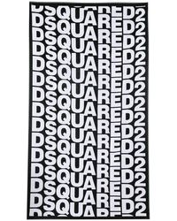 DSquared² Terrycloth Beach Towel With Allover Logo - Black