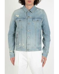 Balmain - Disttressed Denim Jacket With Rear Embossed Logo - Lyst