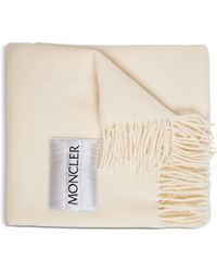 Moncler Ivory Colored Wool Scarf With Logo - White