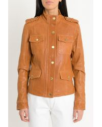 MICHAEL Michael Kors - Four Flap Pockets Vintage-effect Leather Jacket - Lyst