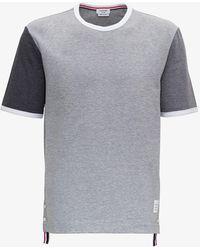 Thom Browne Tonal Grey Colour Block Tee
