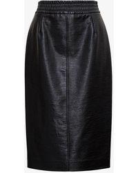 Jucca Leatheret Midi Skirt - Black