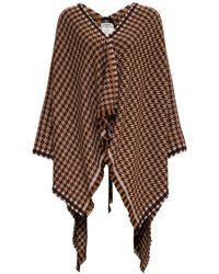 Fendi Pied De Poule Wool Cape With Logo - Brown
