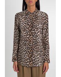 Equipment Leopard Print Silk Shirt - Black