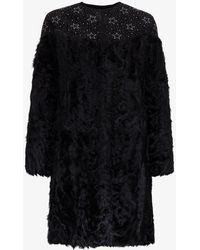 FRAME Fur And Glitter Coat - Black