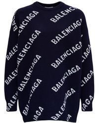 Balenciaga Allover Logo Wool Sweater - Black