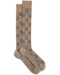 Gucci Beige Cotton Blend GG Socks - Multicolor