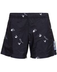 Off-White c/o Virgil Abloh Nylon Swim Shorts With Allover Logo Print - Black