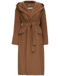 Max Mara Svezia Long Coat In Brown Wool - Natural