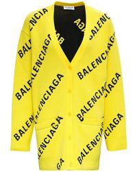 Balenciaga Cardigan L/S con Logo allover - Giallo