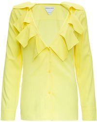 Bottega Veneta Stretch Viscose Shirt With Ruffles - Yellow