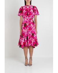 Alexander McQueen Orchid Pink Floral Print Endangered Silk Midi Dress