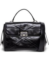 Givenchy Borsa a Mano Flap Media in Pelle Nera Lucida - Nero