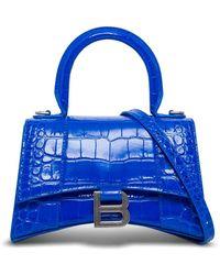 Balenciaga Borsa a Tracolla Hourglass in Pelle Stampa Cocco - Blu
