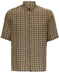 Fendi Ff Viscose Shirt - Natural