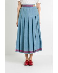 Gucci Pleated Denim Skirt - Blue